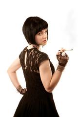 Retro woman with black hair