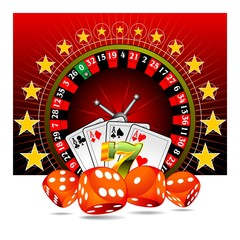 Vector casino illustration with roulette and game elements.