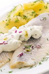 Matjes mit Majonese und Kartoffel