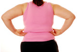 Overweight woman pinching her back fat poster