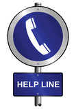 Help line graphic and text information sign mounted on post poster