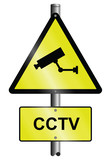 CCTV warning graphic and text signs mounted on post poster
