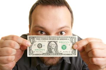 man holds one dollar bill