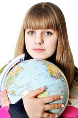 girl and globe of the world