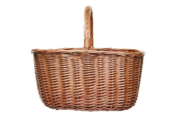Wicker shopping basket isolated on white