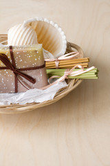 Basket with Soap and Aromatic Sticks