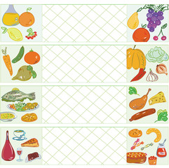 Cooking banners with fruits, vegetables, meat, fish and sweets