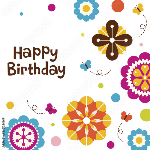 flower birthday card design © rgb #21284369 - See port