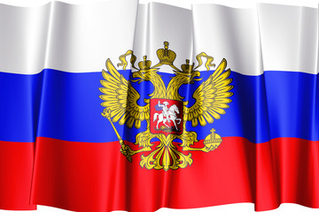 Russian flag with State emblem