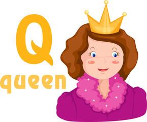 alphabet Q with queen
