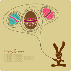 Easter greeting card with cute cartoon bunny