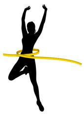 Silhouette nera donna con metro giallo