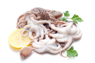 octopus with lemon isolated on white