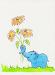 Blue elephant with flowers