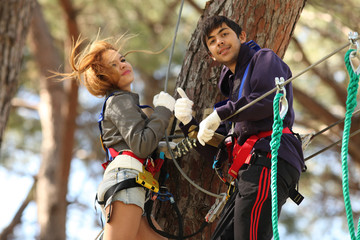 Couple in adventure park