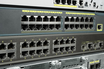 Telecommunication equipment router switch. RJ6-45 Ethernet ports