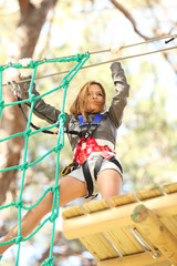 Woman in adventure park