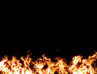 Black fire flames background