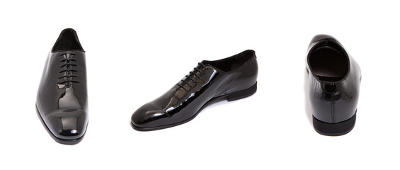black glossy leather men shoe