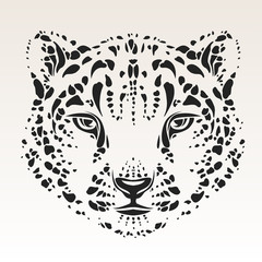 Snow leopard head isolated silhouttte