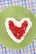 Cake heart  on the table