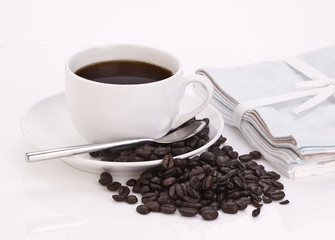 Coffee Cup with spoon and Coffee beans