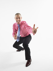 businessman gesturing in studio