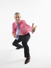businessman gesturing in studio