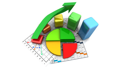 business finance chart, graph, diagram 3d