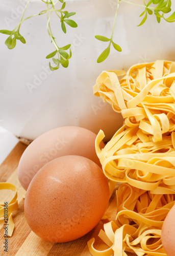 noodles and eggs on the table.