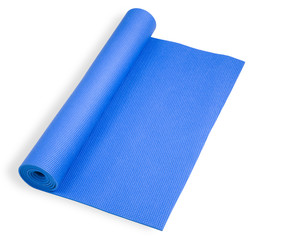Rolled blue mat for yoga