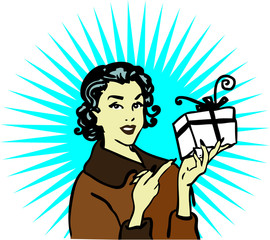Retro woman gift icon card poster advertise