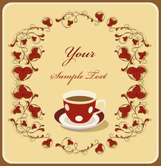 red cup of coffee in the flral frame