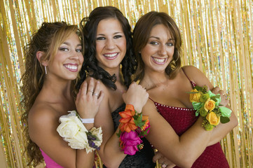 well-dressed teenager girls at school dance portrait