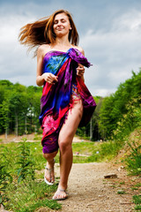 Exotic girl runing