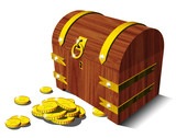 Forziere con Monete-Chest-Coffer and Coins-Coffre et Monnaies poster