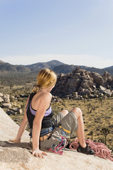 climber on rock looking at desert