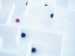 Small balls in maze