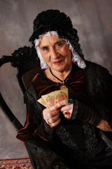 the Grandmother playing cards