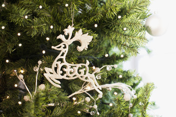 Reindeer Christmas ornament on tree