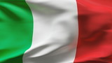 Creased Italian flag in wind with seams and wrinkle poster