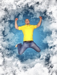 happy man in the sky