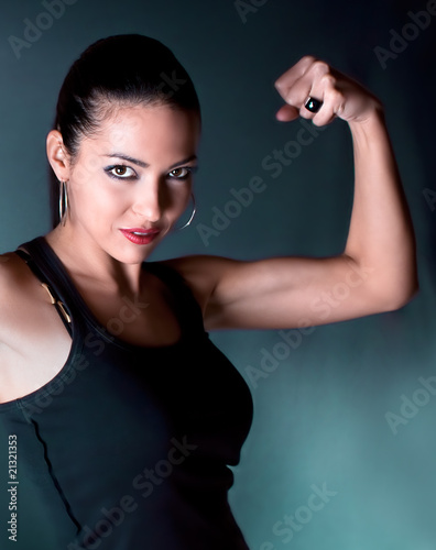 Beautiful woman show your bicep