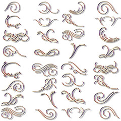 3d ornaments and scrolls vector