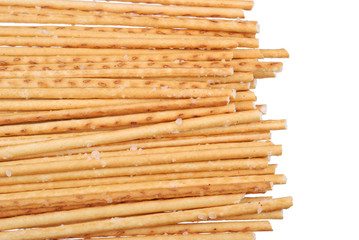 Salted breadsticks isolated on white
