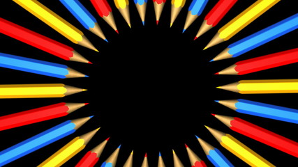 Group of rotating pencils on a black background.