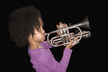 Girl playing trumpet