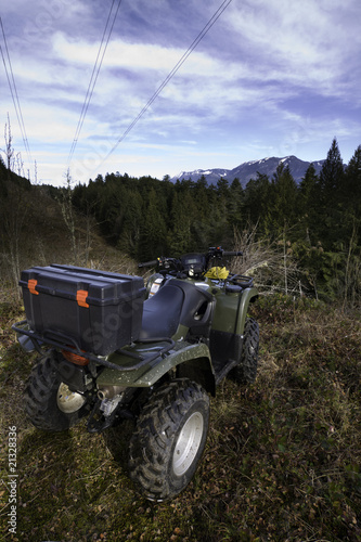 Parked ATV at mountain top vista