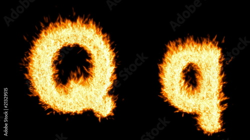 Loopable burning Q character. Alpha channel is included
