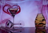 Two wine glass on pink hearts and stars background